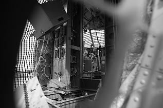 Airplane boneyard, yoke, cockpit, circuit breaker panel