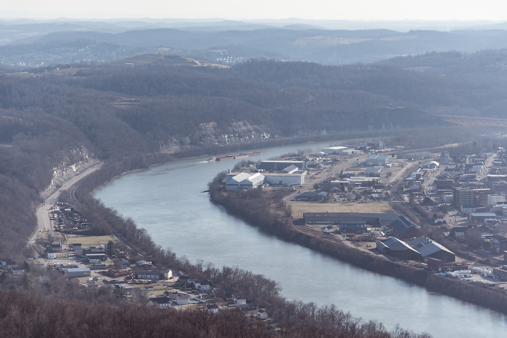 Monongahela River Pennsylvania with Barge and Factories located along its banks