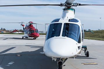 New AW109SP Grand New helicopter operated by SevenBar Aviation, with ERA AW189 in the background