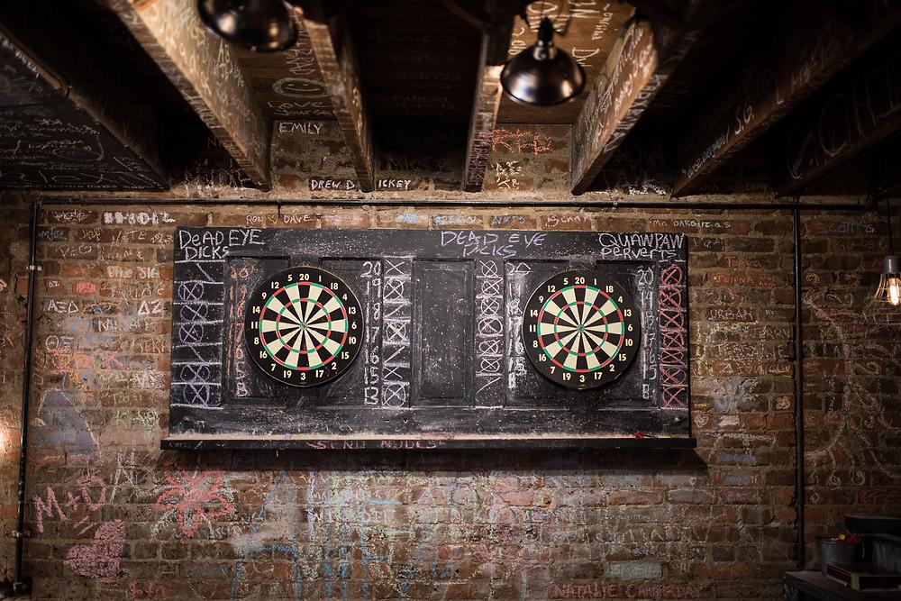 Dart board upstairs at Maxine's