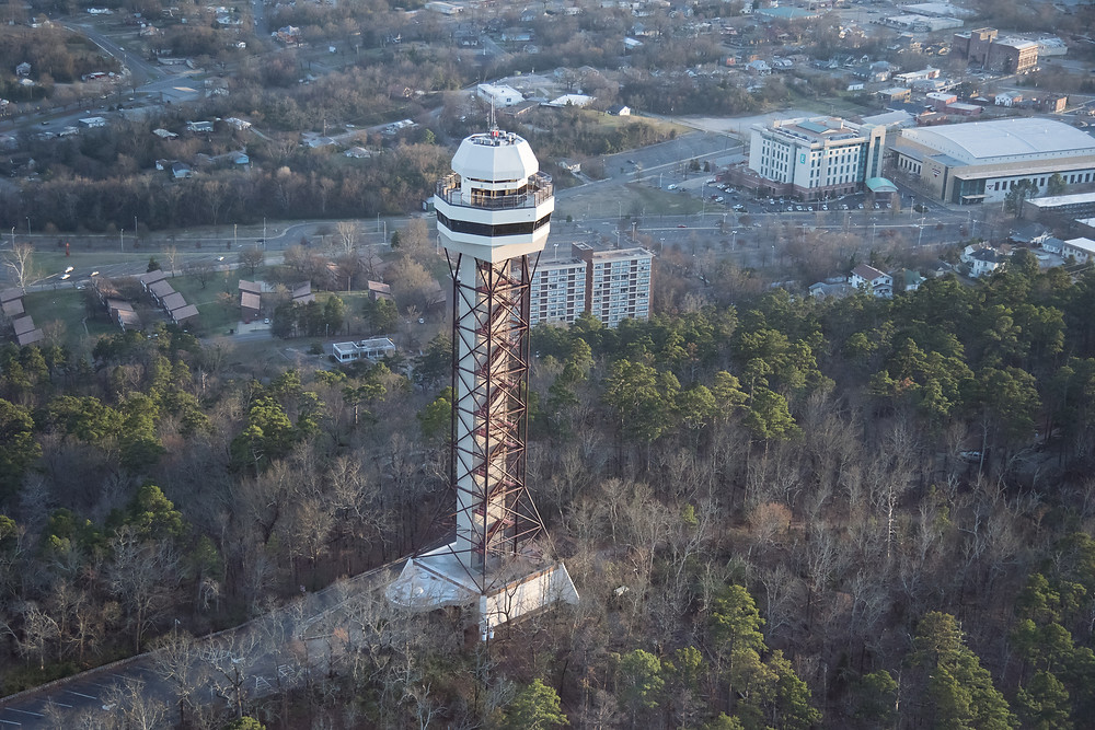 Hot Springs Mountain Tower is a 65.8 metre high observation tower built of lattice steel on Hot Springs Mountain at Hot Springs, Arkansas, USA