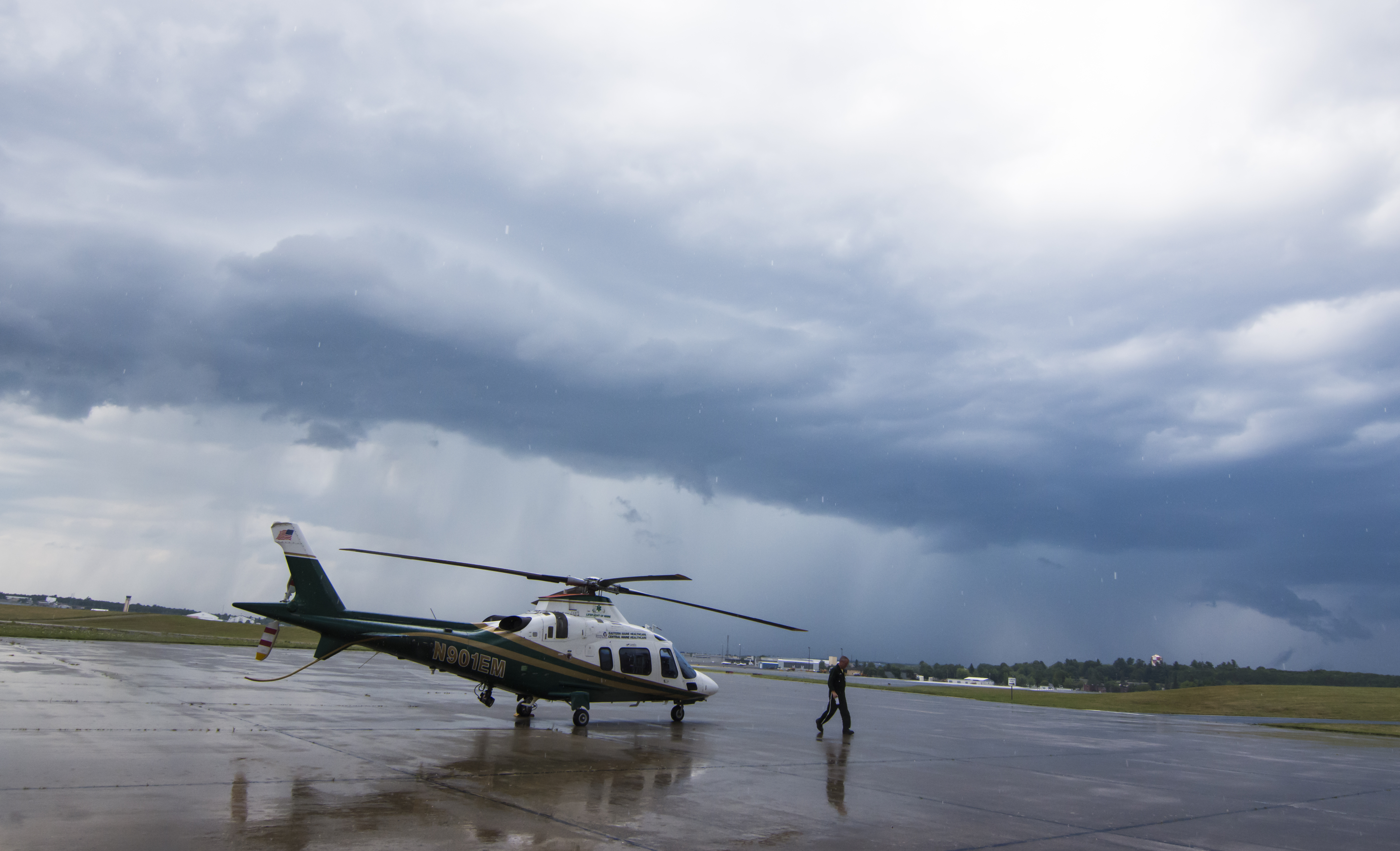 Just in time, helicopter before rain