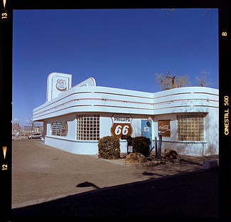 Route 66 dine ABQ NM shot on Cinestill 50D color film
