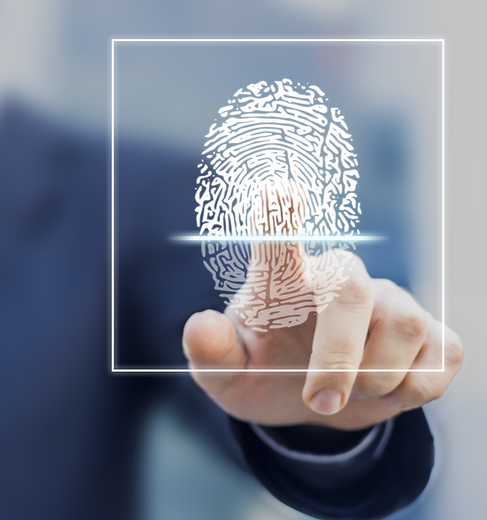 Fingerprint scan provides security access with biometrics identification, person touching screen wit