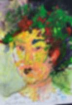 self portrait  Acryllic on paper h 70 x