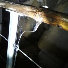 Eisfahnen am Geländer