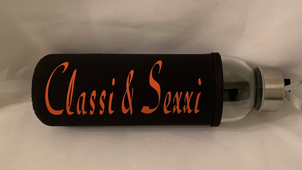 Classi & Sexxi Etched Glass Water Bottle w/ Sleeve