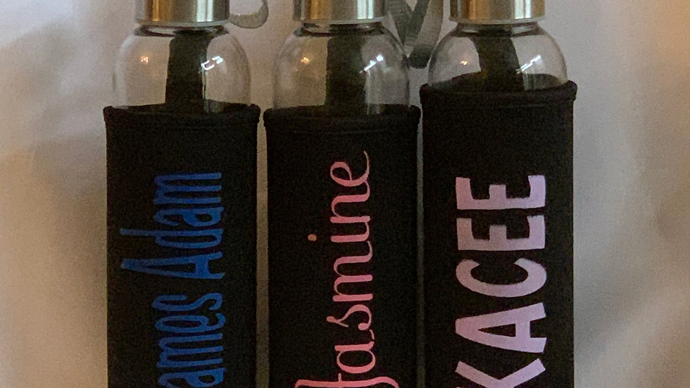 Personalized Etched Glass Water Bottle w/ Sleeve