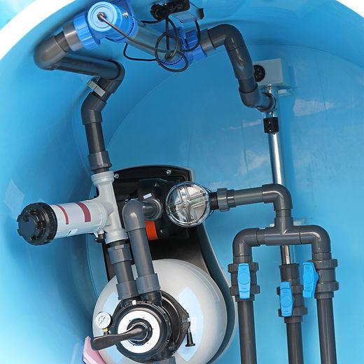 Swimming pool water plumbing fittings and utilities