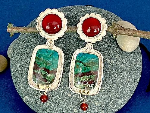 Large Chrysocolla & Carnelian Earrings
