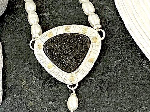 Black Drusy & Pearl Necklace