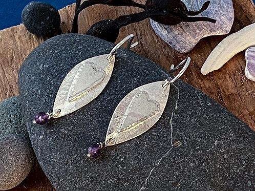 Oval Heart Earrings with Amethyst