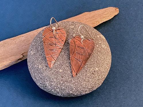 Multi - Roller Copper Woven Heart Earring