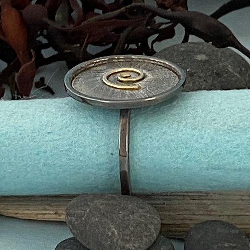 Circle Swirl Oxidized - Ring