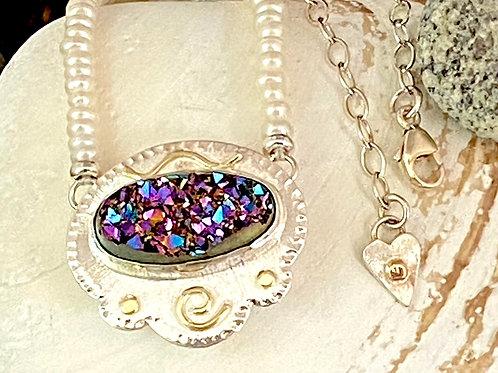 Titanium Drusy & Pearl Necklace