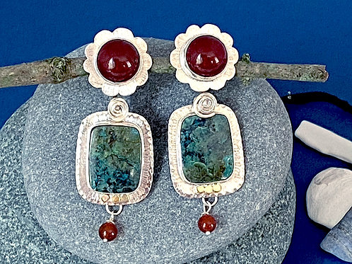 Small Chrysocolla & Carnelian Earrings