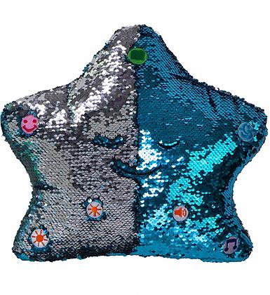 Flippable Sequins My Dua' Pillow – Blue & Silver