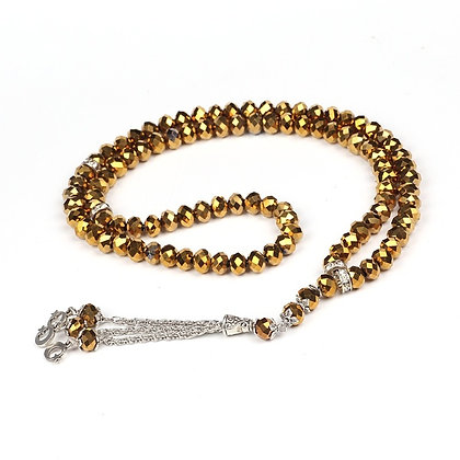 99 BEAD CRYSTAL TASBEEH / PRAYER BEADS GOLD