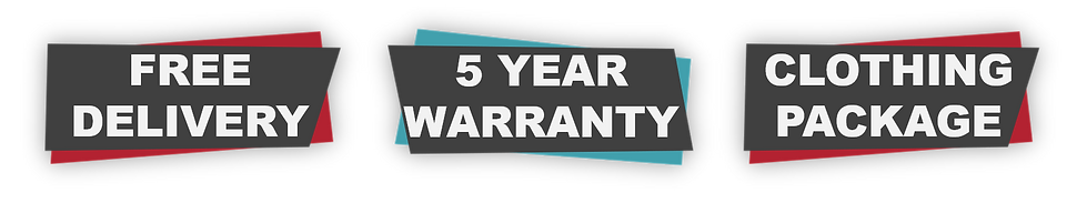 Free delivery, 5 year warranty and clothing pakage