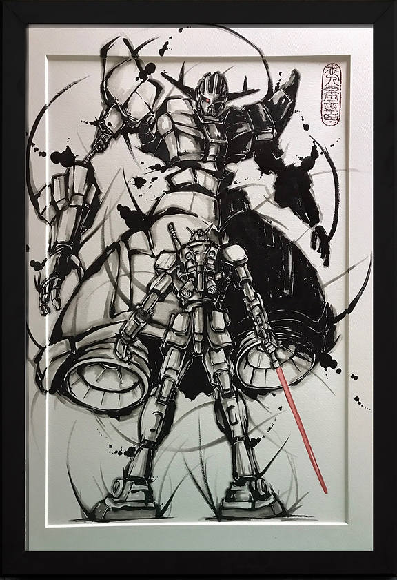 sold out ガンダム武人画 宇宙の対峙