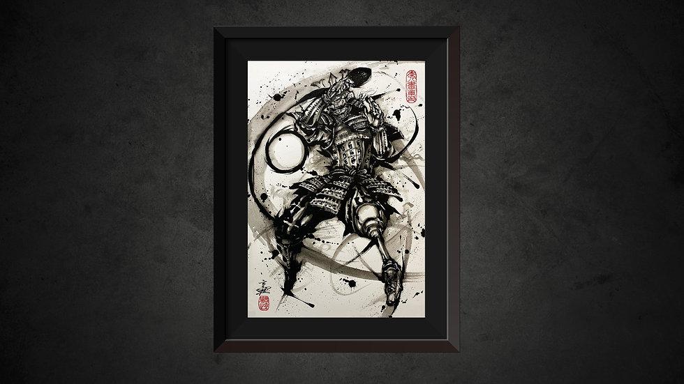 パラ武人画複製原画「卓球立位」