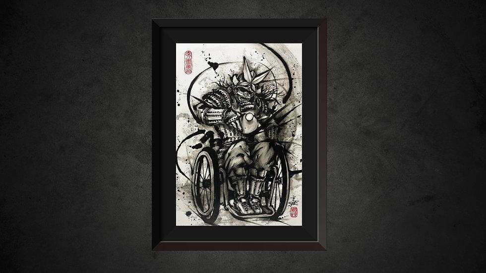 パラ武人画複製原画「卓球座位」