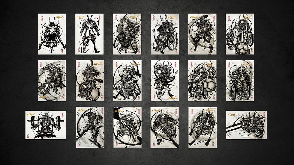 パラ武人画ポストカード18枚セット