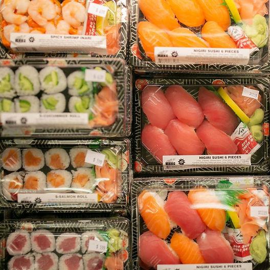 Ready made sushi to take & eat.