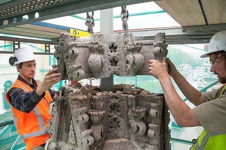 Wainwright and Co Stonemasons restoring Cargils monument Earthquake Strengthening
