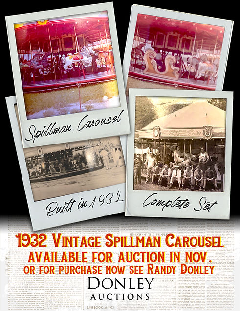Donley Auctions   1932 Vintage Spillman Carousel available for auction in November   For Purchase call Randy Donley 815.790.9435