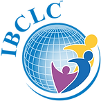 Blue logo of globe with IBCLC lettering to indicate International Board Certified Lactation Consultant who supports mothers world wide with three individuals representing mother, baby, and lactation consultant relationship in yellow blue and purple to indicated IBCLC in south jersey