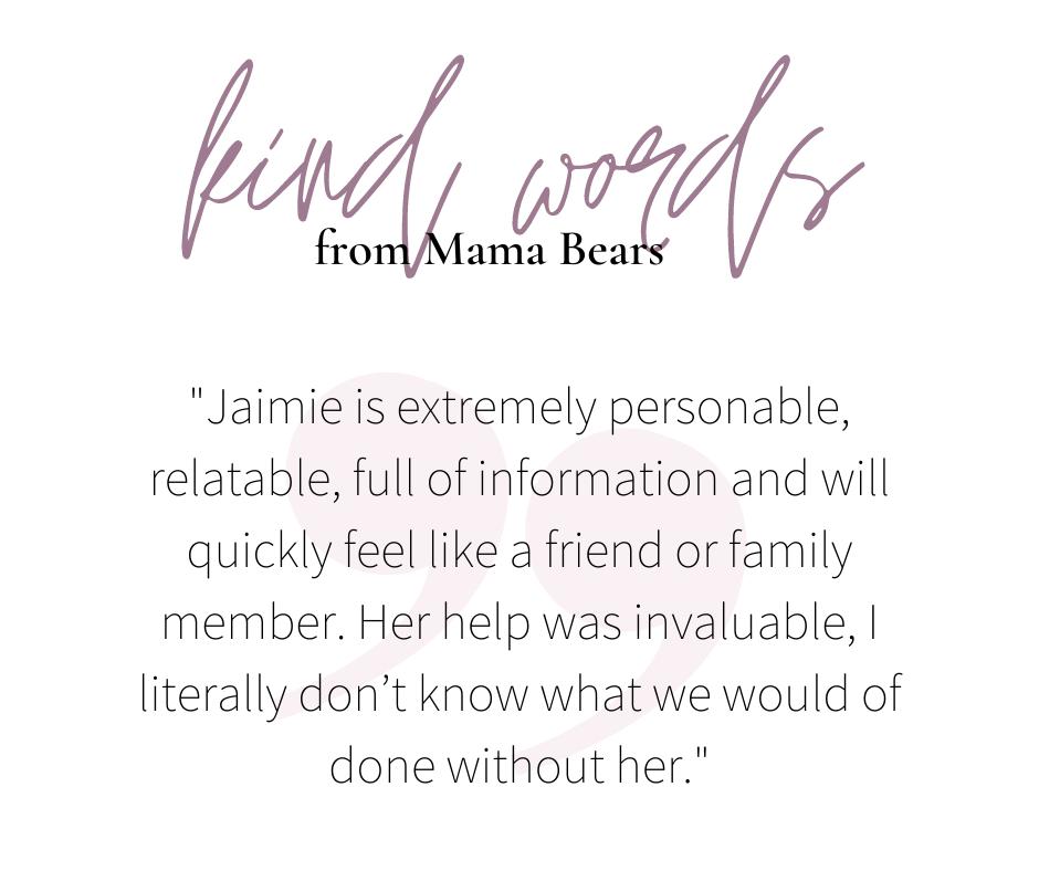 testimonial graphic kind words from mamabears jaimie is extremely persoanble full of information i don't know what i would have done without her ibclc lactation consultant best lactation consultant best doula birth support