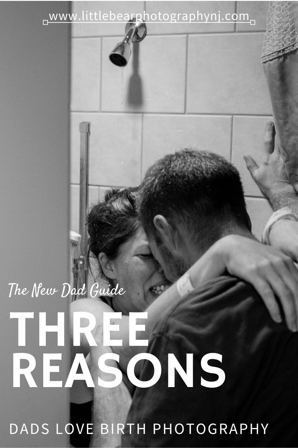 The New Dad Guide Three Reasons Dads Love Birth Photography black and white photo of mother laboring in shower in hospital room during labor while being supported by her husband natural unmedicated labor and birth in South Jersey Hospital Virtua Vorhees