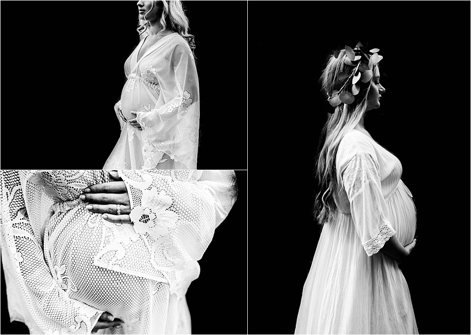 Maternity photographs in black and white feature women wearing beautiful gowns in South New Jersey
