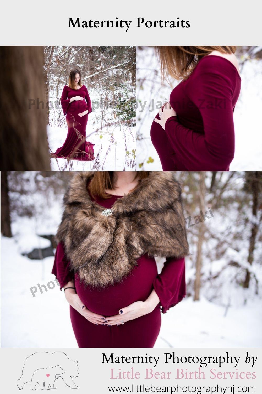 Maternity Potraits in snow pregnancy phootgraphy captured by jaimie zaki little bear birth wichita falls texas