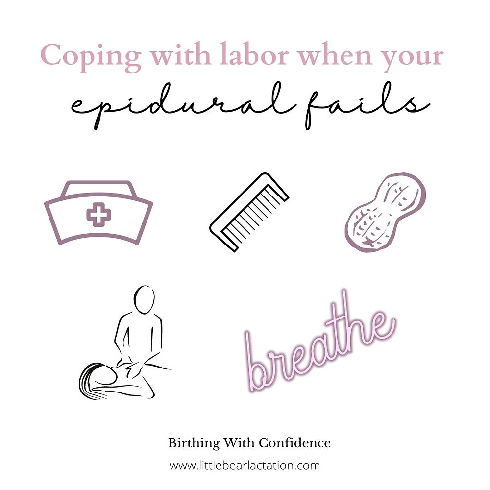 How to cope with labor when your epidural doesn't work? Tell your nurse the epidural isn't working, squeeze a comb, reposition frequently with a peanut ball, massage from your partner, breathing techniques in labor online childbirth education class