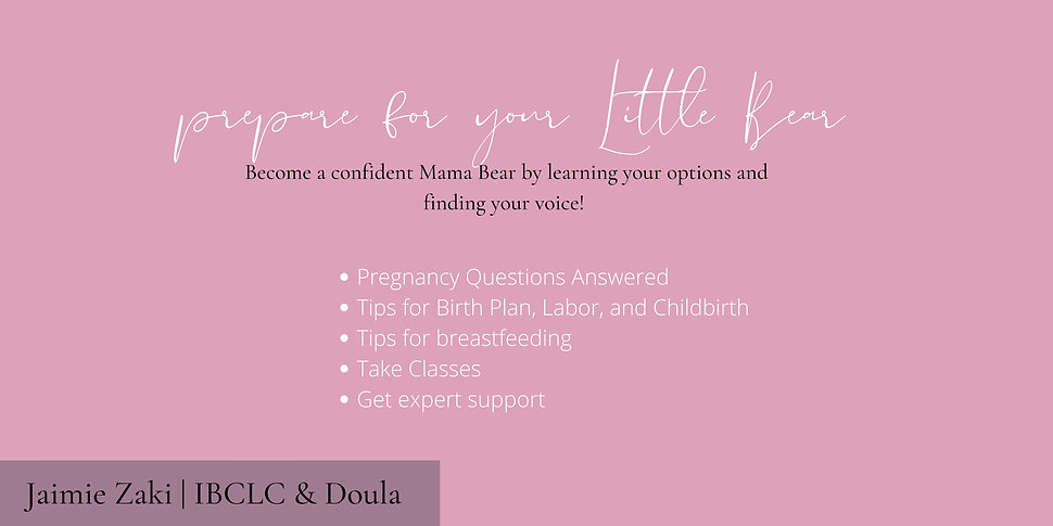 text overlay prepare for your little bear become a confident mama bear by learning your options and finding your voice pregnancy questions answered tips for birth plan labor and childbirth tips for breastfeeding taking classes get expert support jaimie zaki ibclc and doula blog for pregnant new mothers