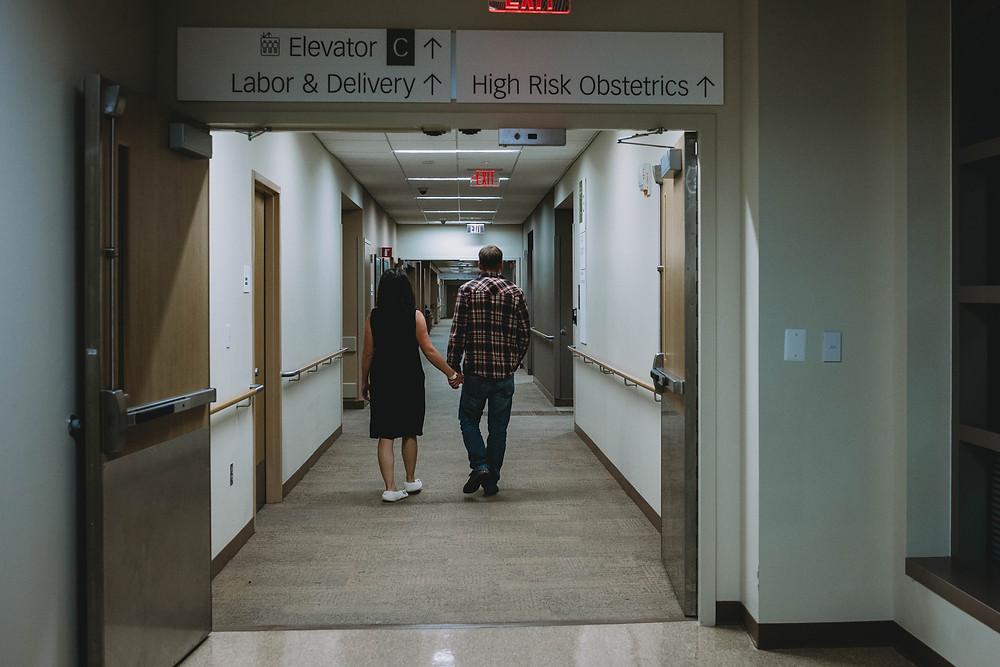 Laboring mother walks halls of hospital