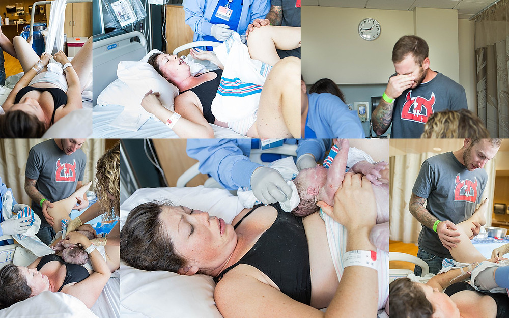 Collage of the moment a laboring mother and her husband met their firstborn daughter. Mother pushes baby out using tug of war method as midwife sits on the end of the bed and catches the baby. Baby is placed skin to skin and the baby's father cries from joy and awe.