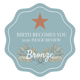 Teal badge identifying Birth Becomes Her 2020 Image Review Bronze level winners Birth Photography contest