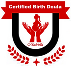 Madriella Certified Birth Doula badge with floral accents and hands supporting a pregnant woman