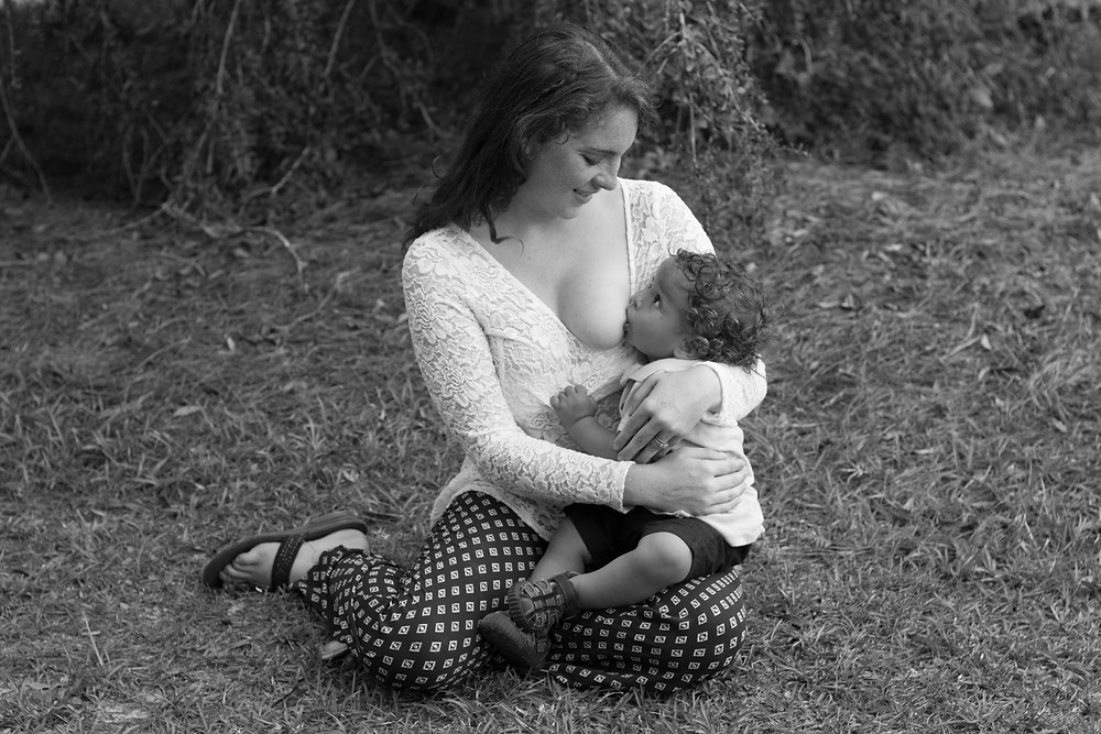 Breastfeeding mother and toddler