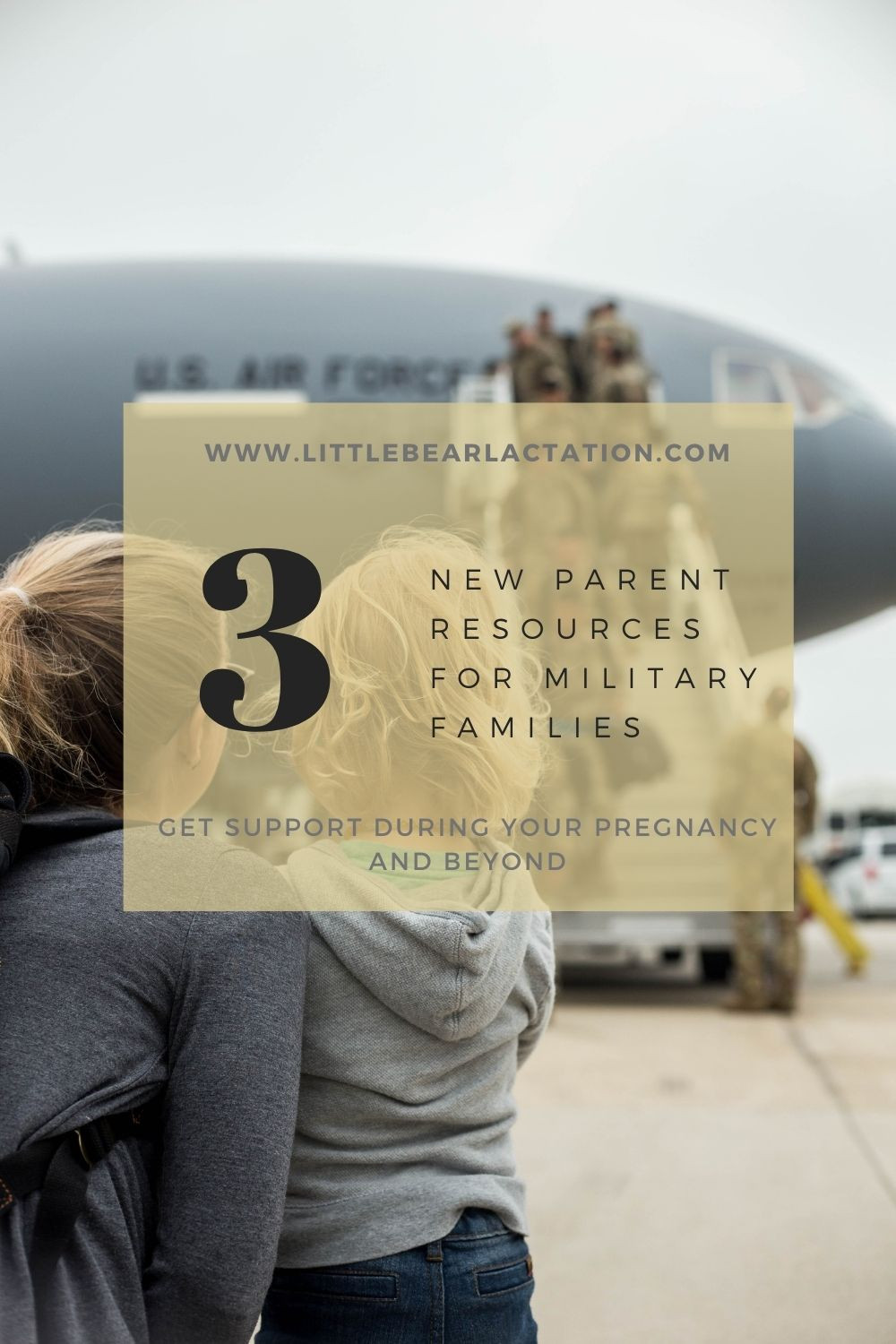 Image of military aircraft and camo clad airmen coming home from deployment while family waits on tarmac text overlay states three new parent resources for military families get support during your pregnancy and beyond military spouse military family