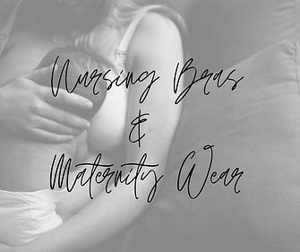 mother wearing nursing bra holding infant text overlay says nursing bras and maternity wear