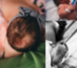 Collage featuring little details of a newborn including the soft whisps of newbor hair, tiny creases on newborn's feet, and a newborn's hospital bracelet at Virtua Mt. Holly in New Jerse