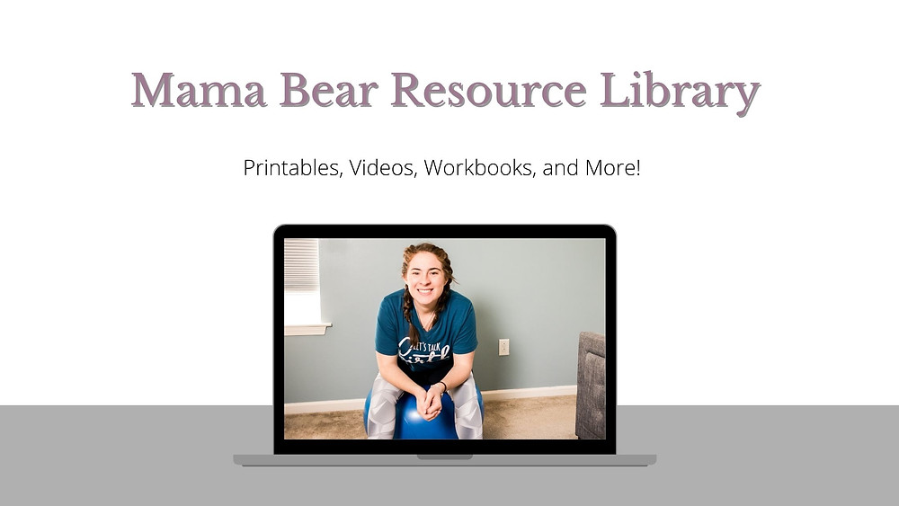 Image of computer with doula sitting on birthball wearing shirt that says lets doula this text overlay mama bear resource library printables videos and more free birth resources for moms to be virtual doula virtual childbirth classes VBAC class breastfeeding class printable birth affirmations