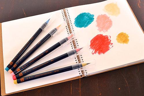 水彩毛筆「彩 Sai」 春を描く5色セット 筆ペン あかしや CA200/5VA  ※ネコポス配送可