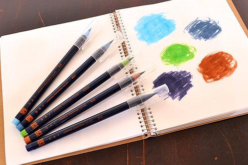 水彩毛筆「彩 Sai」 夏を描く5色セット 筆ペン あかしや CA200/5VB  ※ネコポス配送可