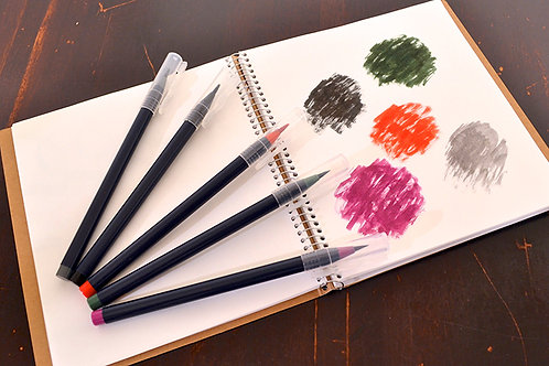 水彩毛筆「彩 Sai」 冬を描く5色セット 筆ペン あかしや CA200/5VD  ※ネコポス配送可