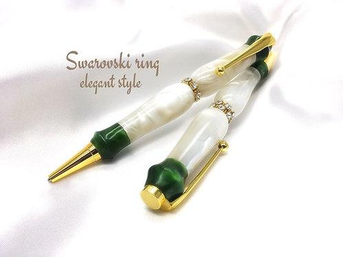 スワロフスキーリング☆Elegant style☆クリスマスローズ♪手作りボールペン♪【送料無料】  ※ネコポス配送可